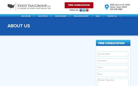 Screenshot of About Page statetaxgroup.com - State Tax Group - About Us - captured Aug. 13, 2015
