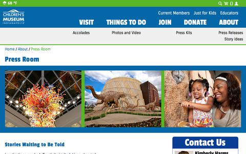 Screenshot of Press Page childrensmuseum.org - Press Room | The Children's Museum of Indianapolis - captured Sept. 24, 2018