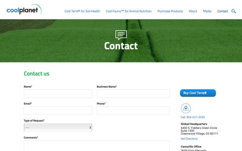 Screenshot of Contact Page coolplanet.com - Contact Cool Planet - Land Sustainability – Biochar Research & Development - captured Sept. 29, 2018