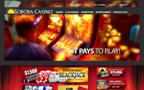 Screenshot of Home Page soboba.net - Soboba Casino - captured Oct. 7, 2014