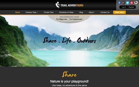 Screenshot of Home Page trailadventours.com - Philippines Hiking | Mountain Climbing and Treks by Trail Adventours - captured Sept. 30, 2014