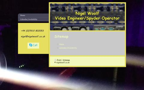 Screenshot of Site Map Page nigelwoolf.co.uk - Nigel Woolf - Spyder Operator and Video Engineer - Home - captured Oct. 21, 2017