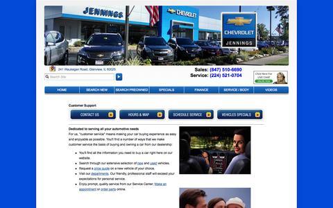 Screenshot of Support Page jenningschevrolet.com - Customer Service Department from Jennings Chevrolet - captured Sept. 30, 2014