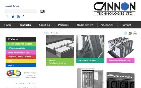Screenshot of Products Page cannontech.co.uk - Products | Cannon Technologies | Enclosure Solutions - captured July 14, 2017