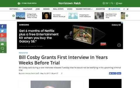 Screenshot of patch.com - Bill Cosby Grants First Interview In Years Weeks Before Trial - Norristown, PA Patch - captured May 17, 2017