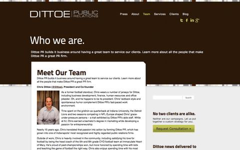 Screenshot of Team Page dittoepr.com - PR Team | Dittoe PR - captured Oct. 5, 2014