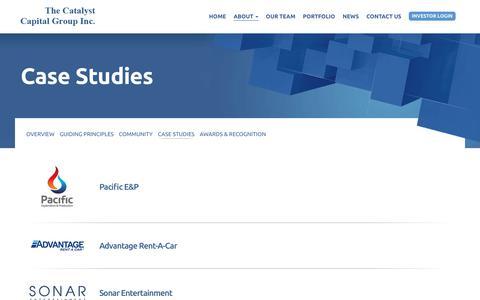 Screenshot of Case Studies Page catcapital.com - Case Studies   Catalyst Capital - captured July 18, 2017