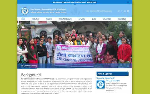 Screenshot of Home Page ruwonnepal.org.np - www.ruwonnepal.org.np | Non- Governmental Social Organization - captured Oct. 7, 2014