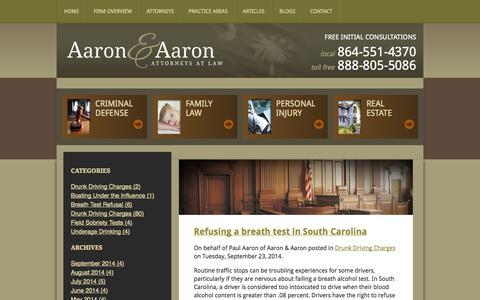 Screenshot of Blog aaronlawyer.com - Clemson DUI/DWI Law Blog   Aaron & Aaron - captured Oct. 3, 2014