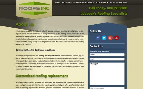 Screenshot of About Page roofsinctx.com - About Us - Roofs Inc. - captured Oct. 1, 2014