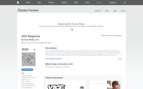 Screenshot of iOS App Page apple.com - VICE Magazine on the App Store on iTunes - captured Oct. 26, 2014