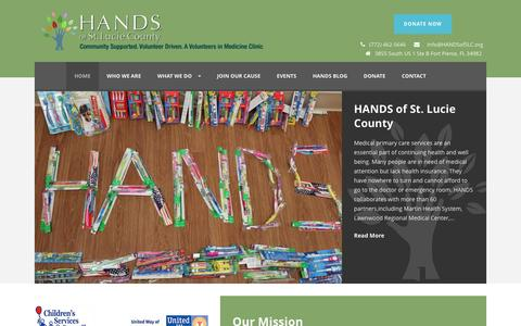 Screenshot of Home Page handsofslc.org - HANDS of St. Lucie County - captured April 22, 2016