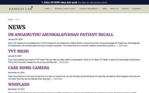 Screenshot of Press Page handleylaw.co.uk - Personal Injury News - Clinical Negligence News - captured Jan. 25, 2016