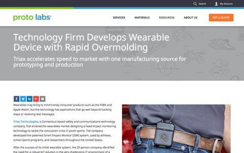 Screenshot of Case Studies Page protolabs.com - Case Study: Waterproof Wearable Developed with Rapid Overmolding - captured Oct. 24, 2017