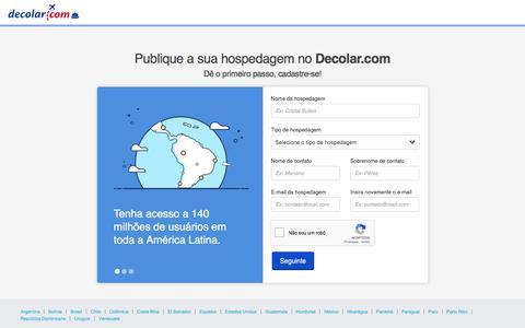 Screenshot of Signup Page decolar.com - Como publicar minha hospedagem? | Publique em Decolar.com - captured Sept. 6, 2018