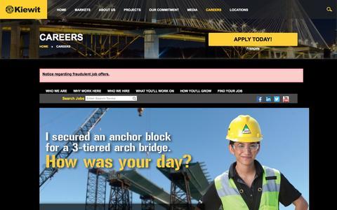 Screenshot of Jobs Page kiewit.com - Kiewit : Careers - captured Dec. 7, 2015