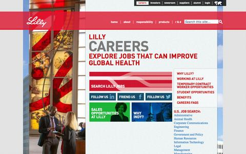 Screenshot of Jobs Page lilly.com - Careers - captured Sept. 23, 2014