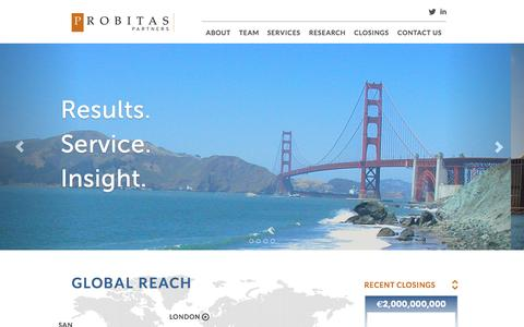 Screenshot of Home Page probitaspartners.com - Probitas Partners - captured Sept. 30, 2014
