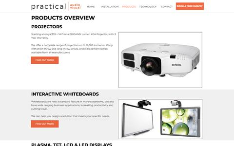 Screenshot of Products Page practicalav.co.uk - Audio Visual Products installed by PracticalAV - captured Sept. 29, 2018
