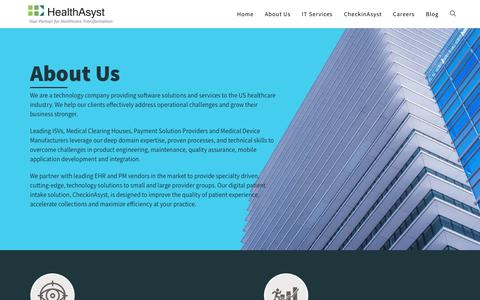 Screenshot of About Page healthasyst.com - About Us – HealthAsyst - captured Oct. 13, 2019
