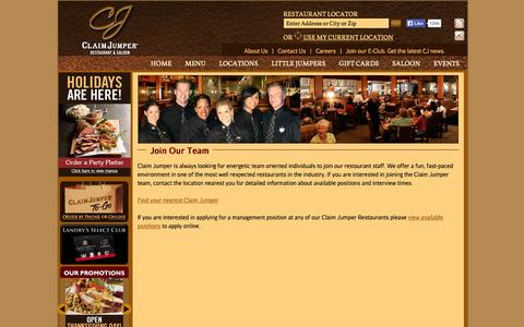 Screenshot of Jobs Page claimjumper.com - Claim Jumper Restaurants - captured Nov. 4, 2014