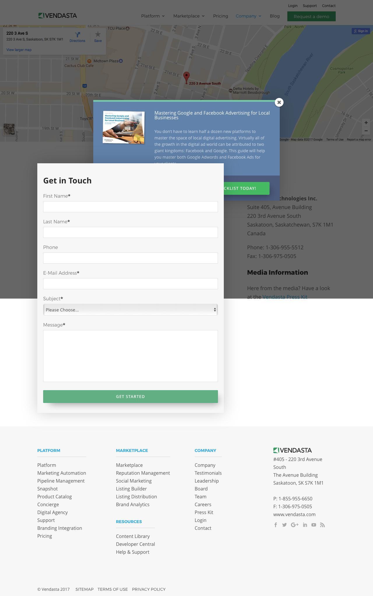 Screenshot of vendasta.com - Contact Us | Vendasta - captured Feb. 25, 2017