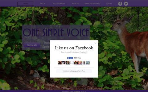 Screenshot of Home Page onesimplevoice.org - Spiritual Retreats | Colorado | One Simple Voice - captured Nov. 13, 2017