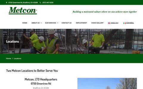 Screenshot of Locations Page metconltd.com - Locations – Metcon LTD - captured Sept. 20, 2018