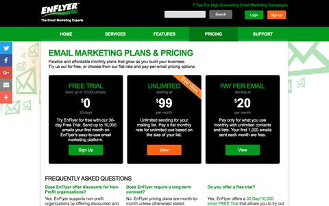 Screenshot of Pricing Page enflyer.com - Email Marketing Plans & Pricing - EnFlyer - captured Dec. 25, 2016