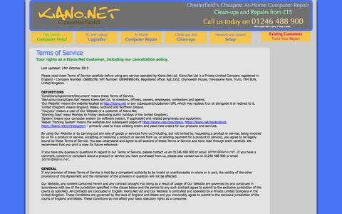 Screenshot of Terms Page kiano.net - Terms of Service | Kiano.Net - captured Oct. 6, 2014