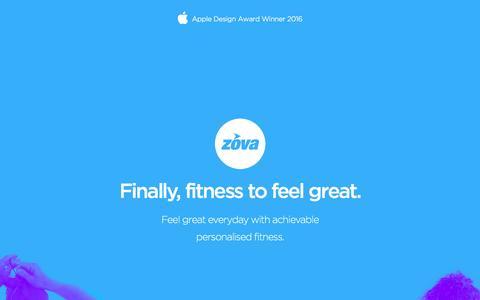 Screenshot of Home Page zova.com - Zova – Finally, fitness to feel great - captured Sept. 14, 2016
