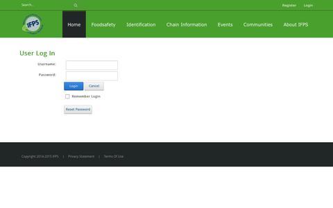 Screenshot of Login Page ifpsglobal.com - User Log In - captured Nov. 16, 2016