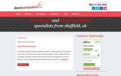 Screenshot of Case Studies Page directcomputers.co.uk - Case Studies - captured Sept. 30, 2014