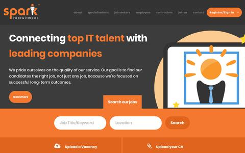 Screenshot of Home Page sparkrecruitment.com.au - IT Jobs In Sydney, IT Recruitment Agency,  ICT Jobs & Vacancies Sydney -  - Spark Recruitment - captured Sept. 21, 2018