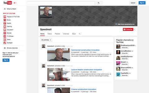 Screenshot of YouTube Page youtube.com - Speedwall  - YouTube - captured Oct. 26, 2014