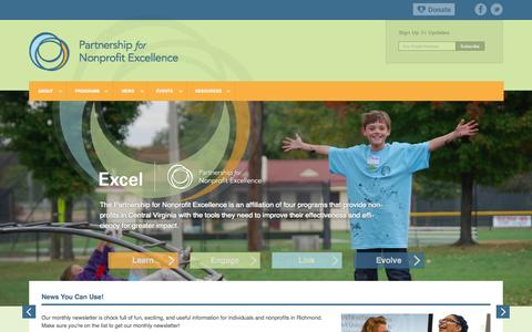 Screenshot of Home Page pnerichmond.org - Partnership for Nonprofit Excellence   Richmond Region's Catalyst for Advancing Nonprofits - captured Oct. 2, 2014