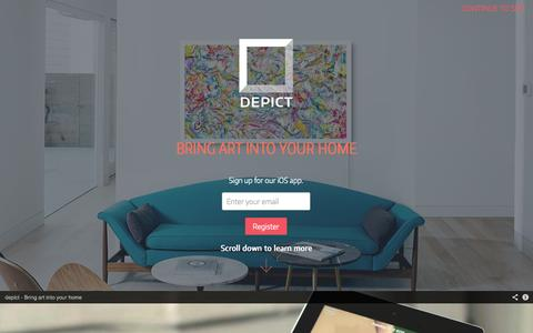 Screenshot of Home Page depict.com - Welcome to Depict - captured Sept. 25, 2014