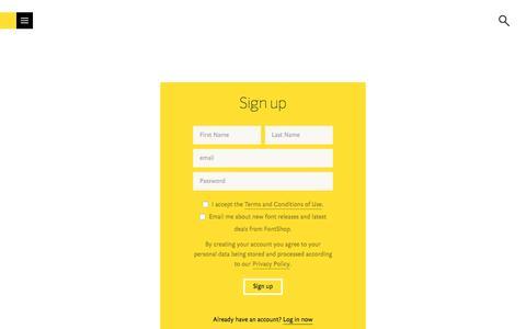 Screenshot of Signup Page fontshop.com - FontShop - captured Aug. 19, 2018