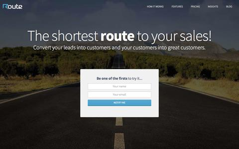Screenshot of Home Page route.to - Route.To | Marketing and sales automation - captured Sept. 19, 2014