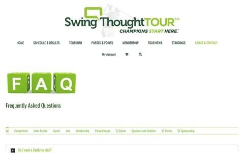 Screenshot of FAQ Page swingthought.com - Frequently asked questions for the SwingThought TOUR - captured Feb. 22, 2018