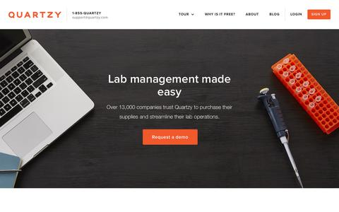 Screenshot of Home Page quartzy.com - Quartzy | The free and easy way to manage your lab - captured April 8, 2018