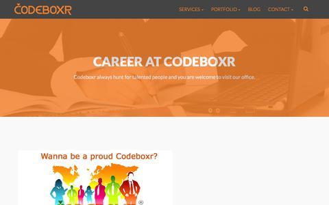 Screenshot of Jobs Page codeboxr.com - Career at Codeboxr | Codeboxr - captured Jan. 17, 2016