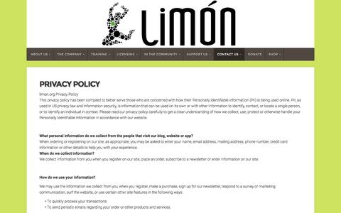 Screenshot of Privacy Page limon.org - Privacy Policy - Limón - captured Nov. 27, 2016