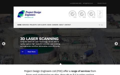 Screenshot of Home Page pde.co.uk - Project Design Engineers | Engineering, Design & Project Management - captured Nov. 14, 2016