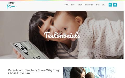 Screenshot of Testimonials Page littlepim.com - Kids Language Learning Testimonial | Learn a Language with Little Pim® - captured May 9, 2017