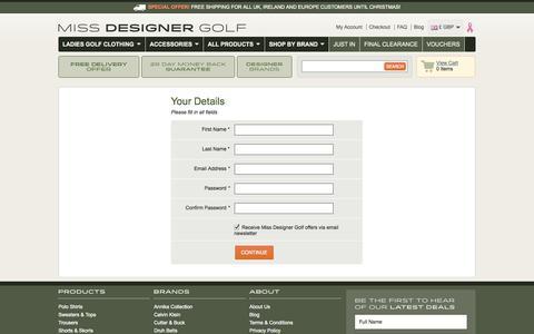 Screenshot of Signup Page missdesignergolf.com - Create New Customer Account - captured Oct. 7, 2014