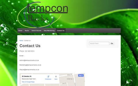 Screenshot of Contact Page tempconracks.co.za - Contact Us | Tempcon Racks - captured Oct. 26, 2014