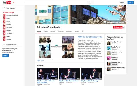 Screenshot of YouTube Page youtube.com - Princeton Consultants  - YouTube - captured Oct. 24, 2014