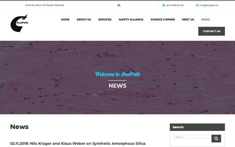 Screenshot of Press Page anapath.ch - News - Welcome to AnaPath - captured Nov. 12, 2018