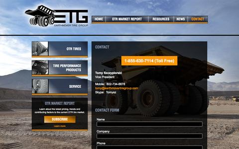 Screenshot of Contact Page earthmovertiregroup.com - Contact - Earthmover Tire Group - captured Sept. 27, 2014